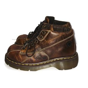 Dr. Martens Brown Leather Floral Lace Up Boots